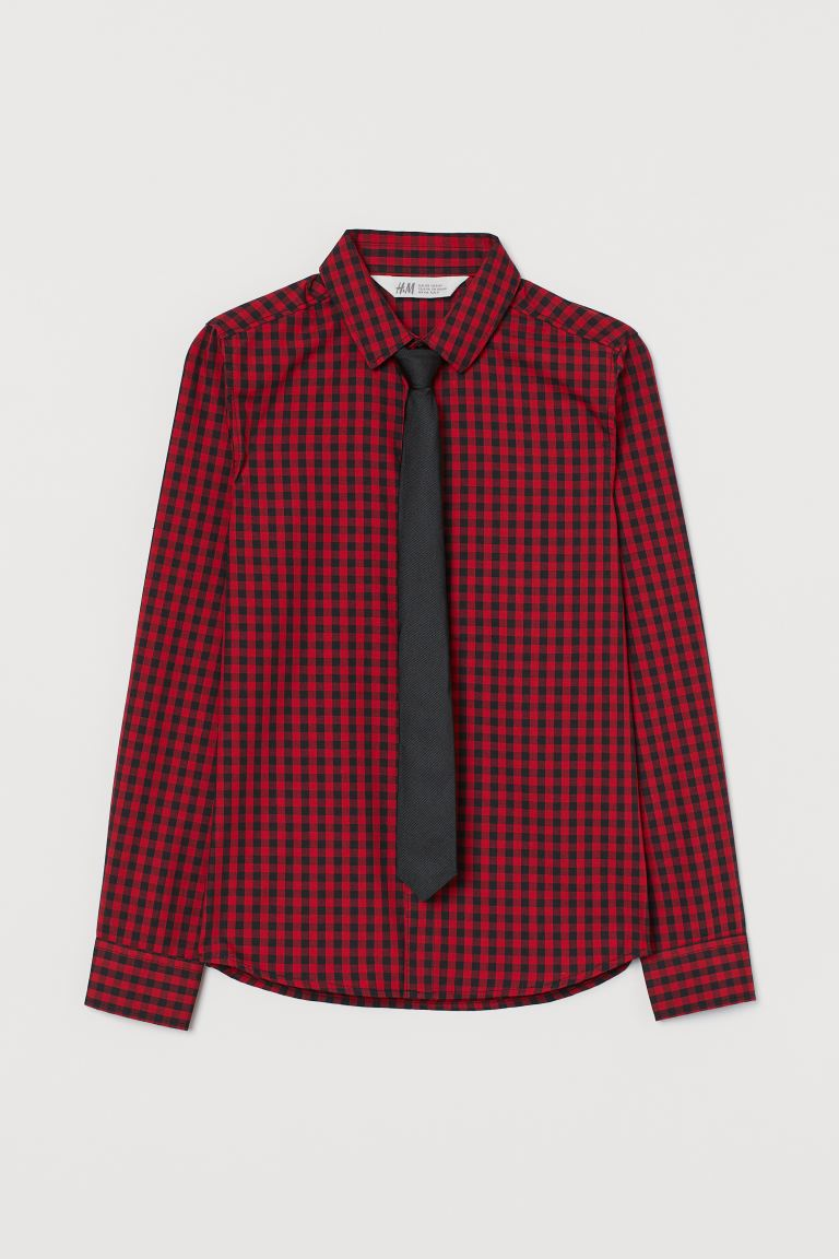 Shirt with a tie/bow tie - Red/Tie - Kids | H&M