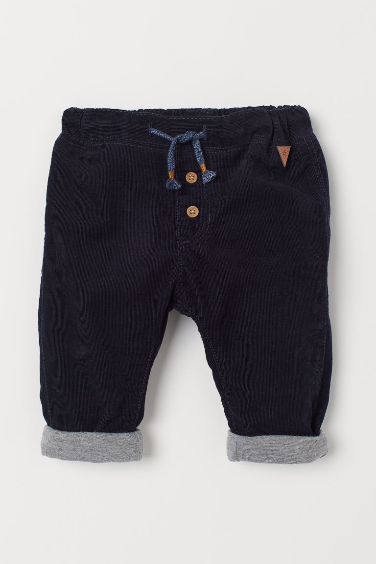 Fully lined corduroy trousers - Dark blue - Kids | H&M IN