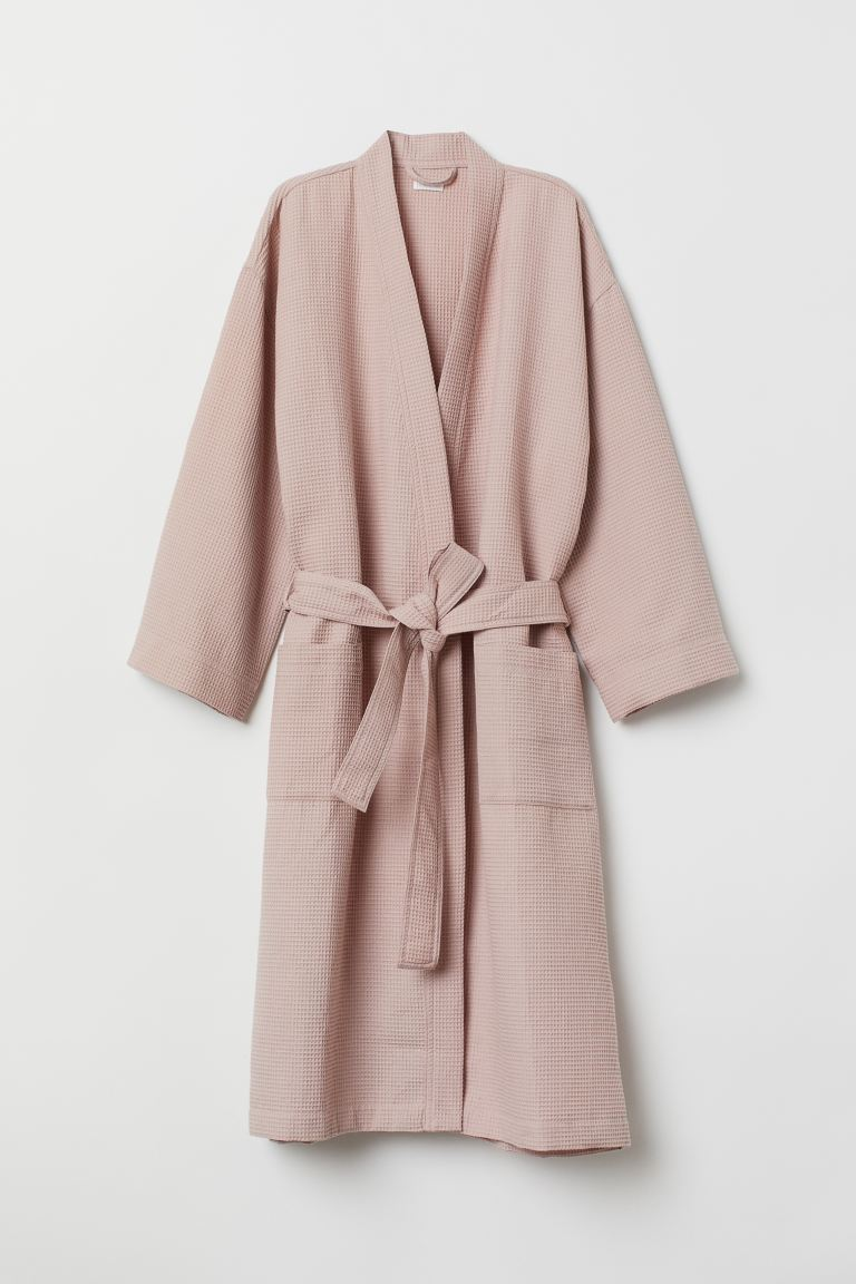 Waffled dressing gown - Dusky pink - Home All | H&M GB