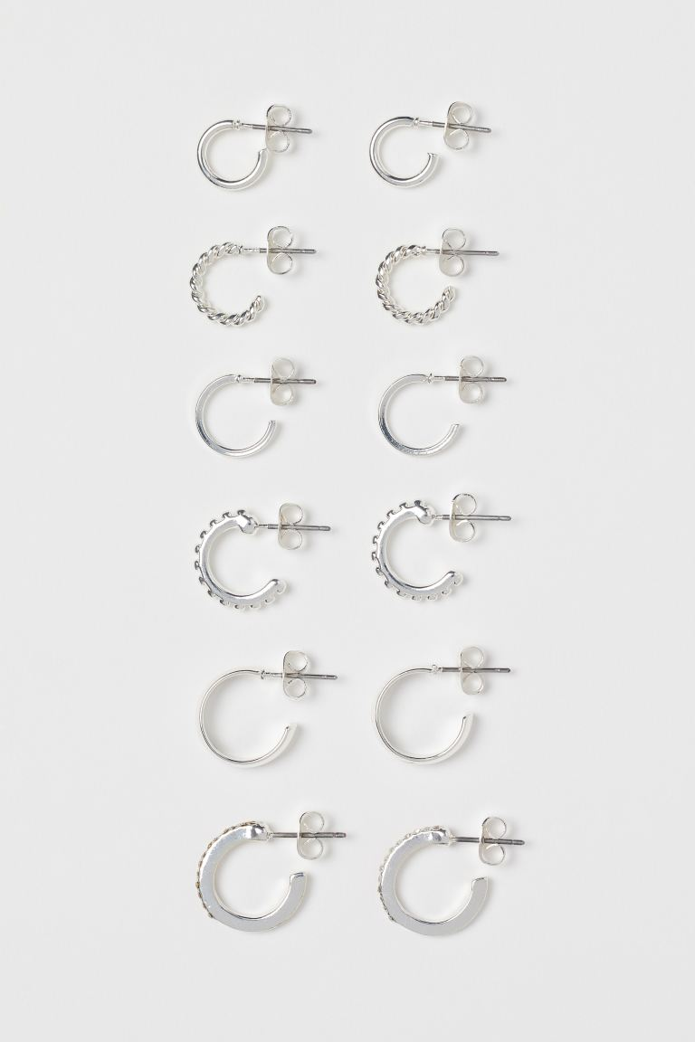 6 Pairs Hoop Earrings - Silver-colored - Ladies | H&M US