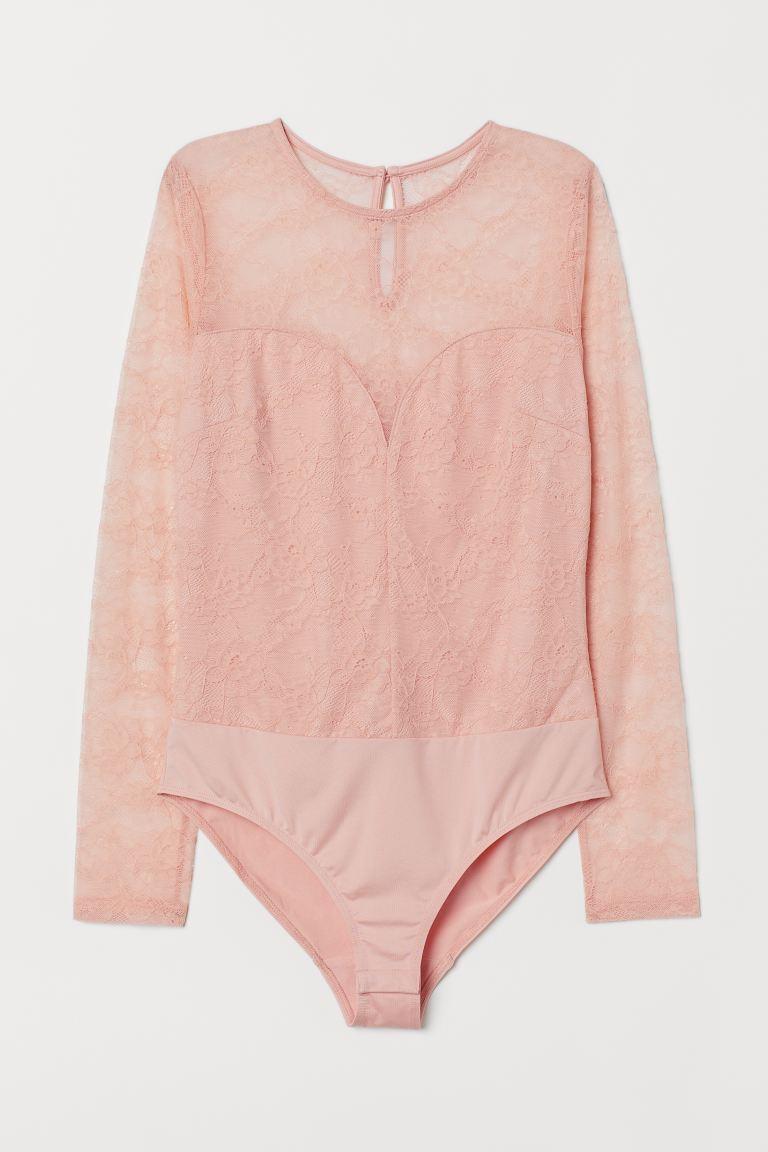 Long-sleeved lace body - Powder pink - Ladies | H&M
