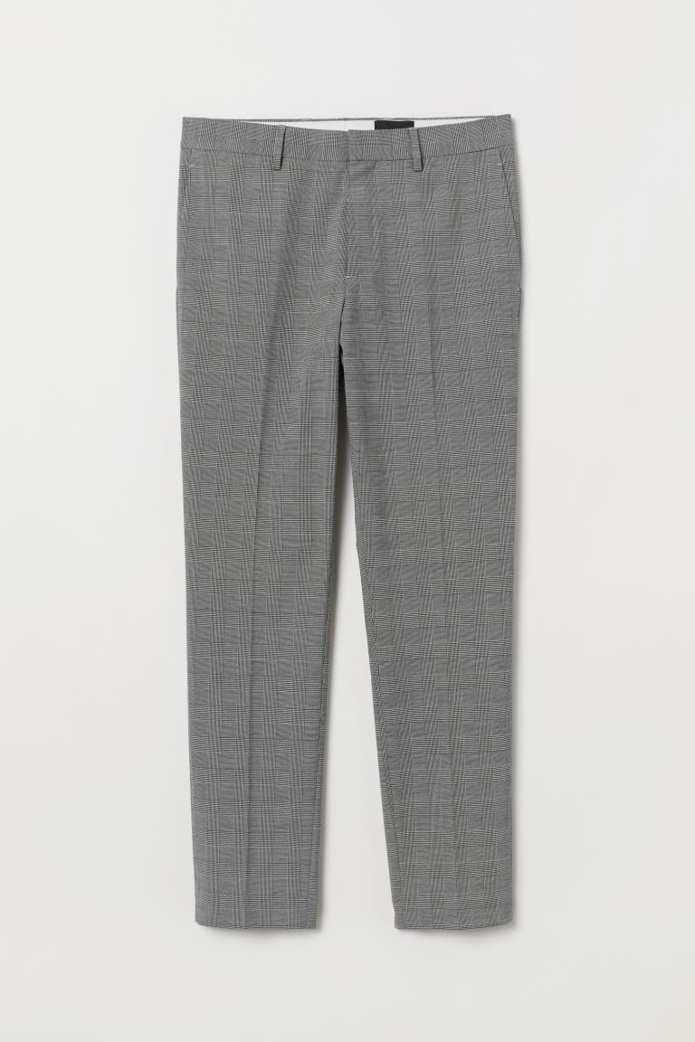Suit trousers Skinny Fit - Grey/Checked - Men | H&M