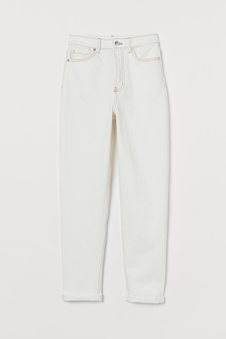 Mom High Ankle Jeans - Natural white - Ladies | H&M AU