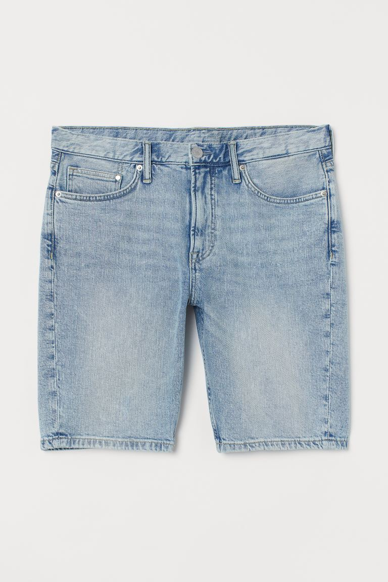 Slim Denim Shorts - Pale denim blue - Men | H&M