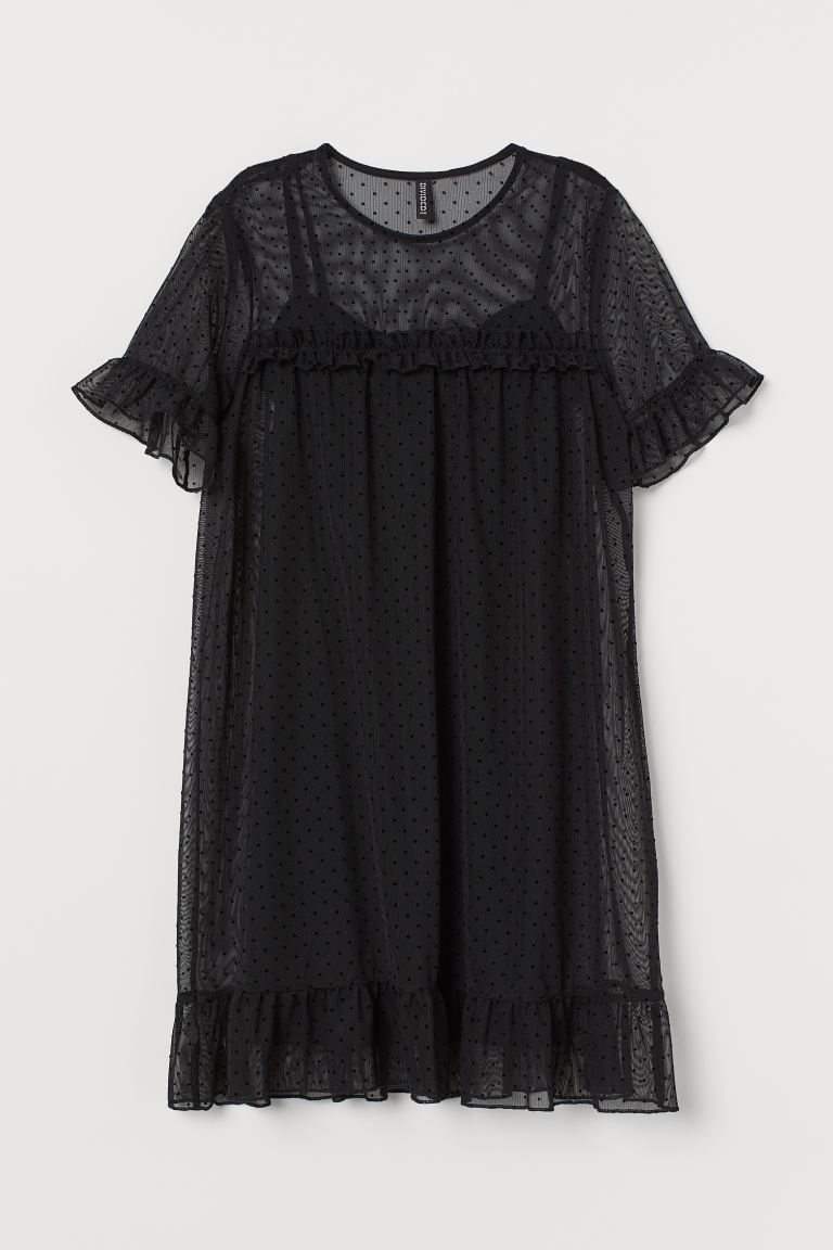 Mesh dress - Black/Spotted - Ladies | H&M GB