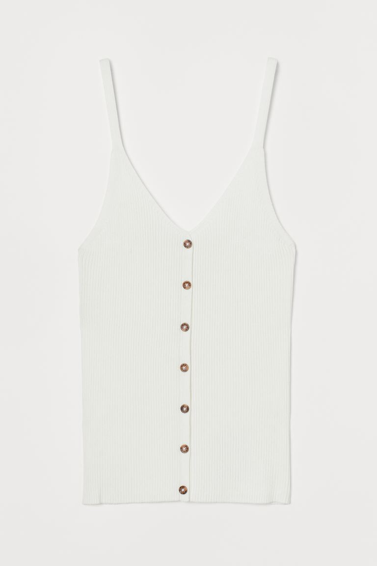 Rib-knit strappy top - White - Ladies | H&M