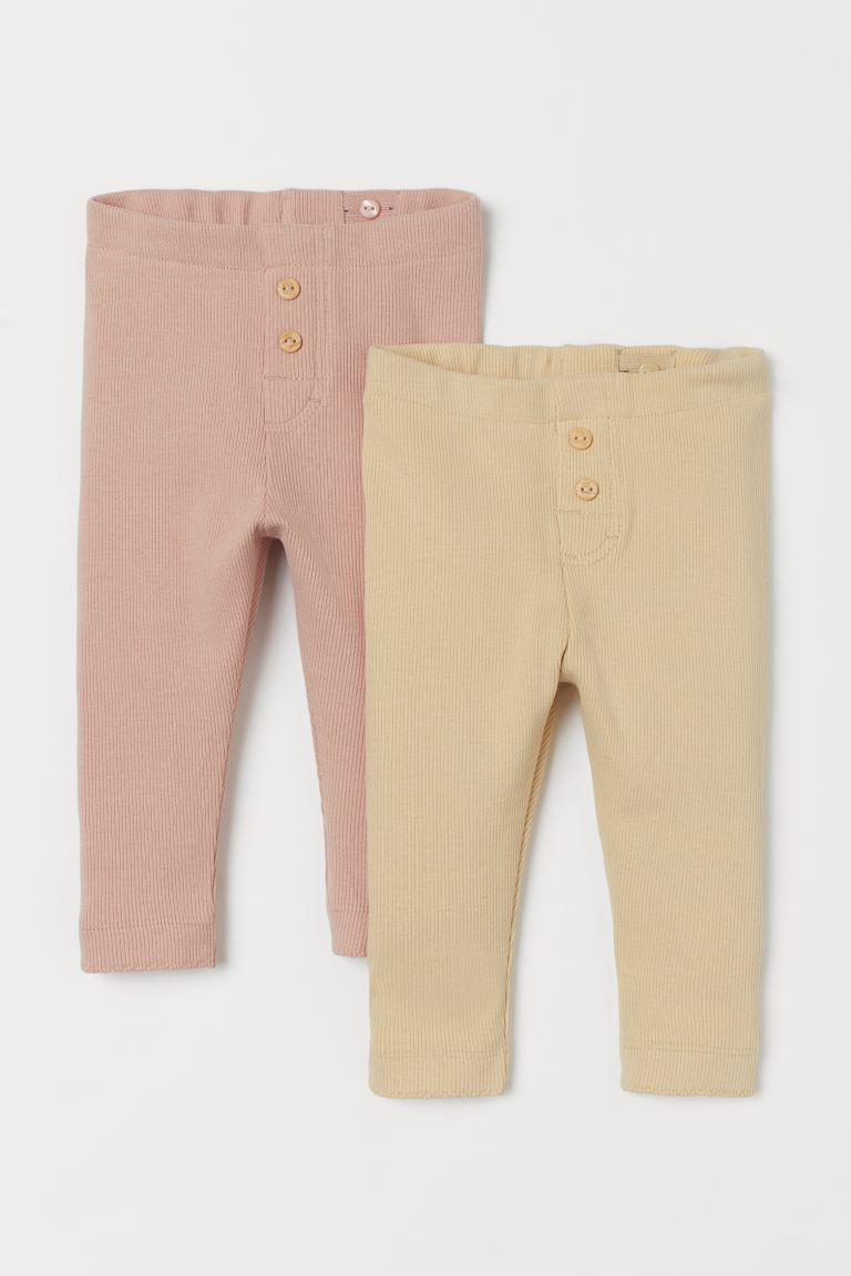 2-pack ribbade leggings - Gulbeige/Ljusrosa - BARN | H&M SE