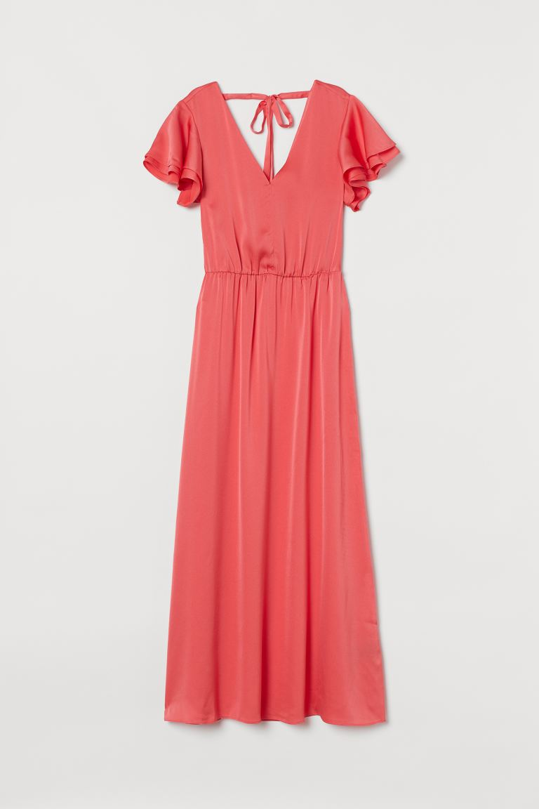 Tie-detail maxi dress - Coral pink - Ladies | H&M GB