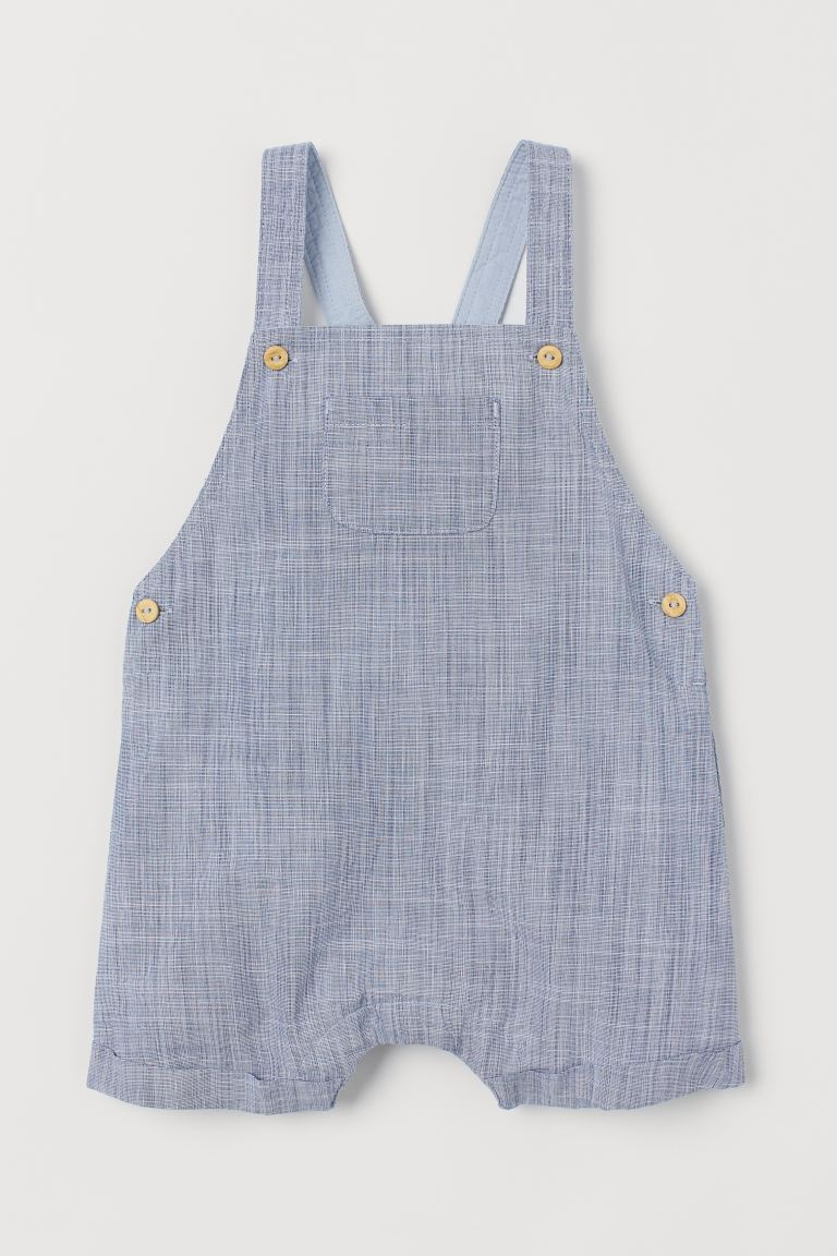 Linen-blend Bib Overalls - Light blue - Kids | H&M US