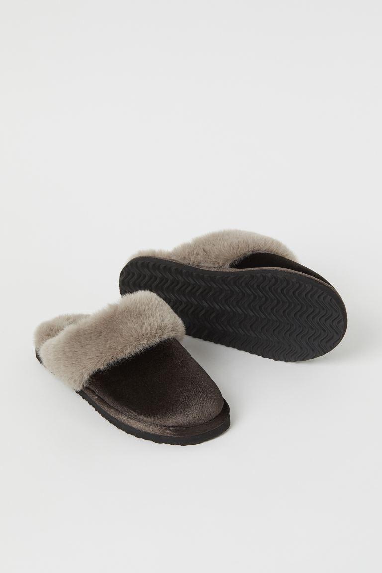 Warm-lined indoor slippers - Dark brown - Ladies   H&M