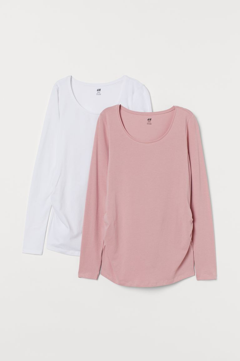MAMA 2-pack jersey tops - White/Powder pink - Ladies | H&M