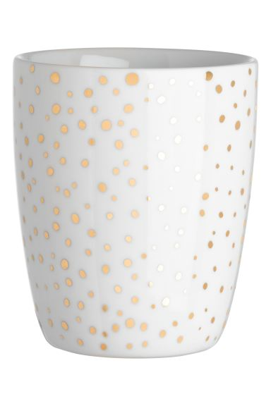 Porcelain Cup - White/gold-colored dots - Home All | H&M CA
