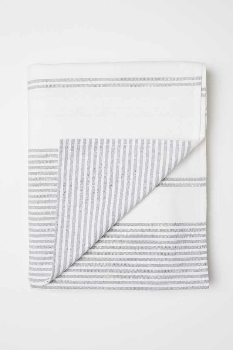 Cotton tablecloth - Natural white/Grey striped - Home All | H&M GB