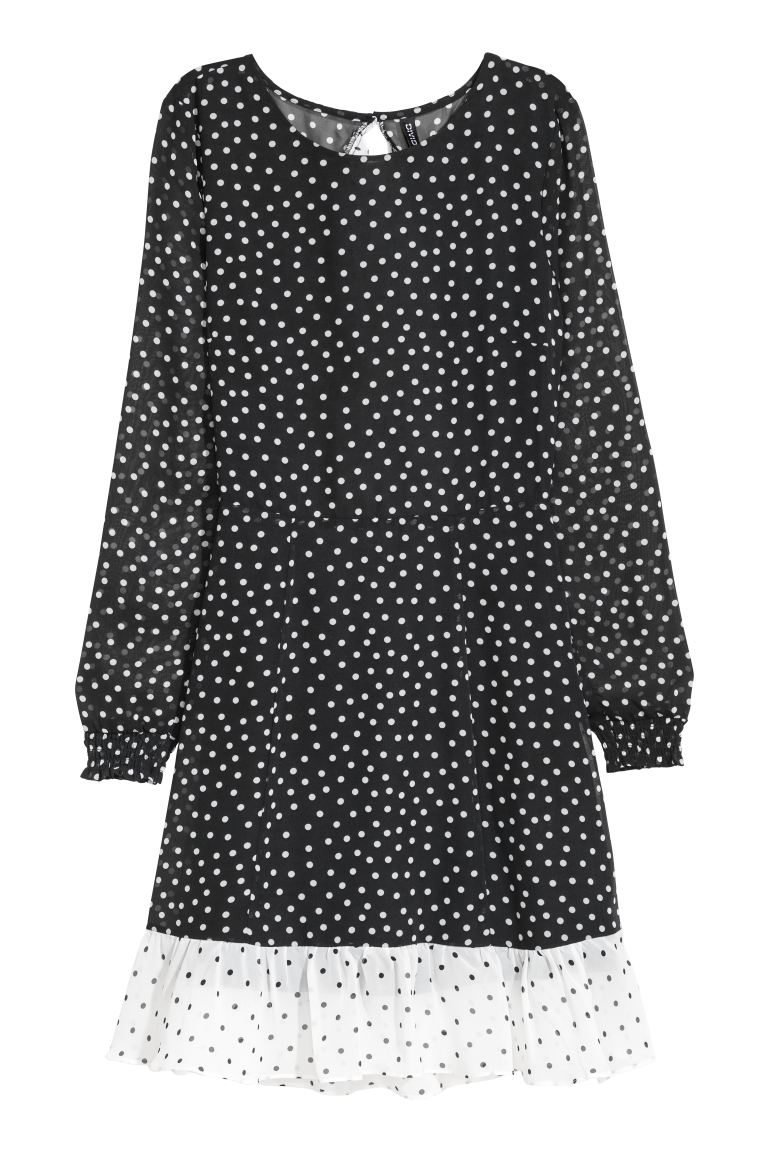 Patterned chiffon dress - Black/White spotted - Ladies | H&M GB