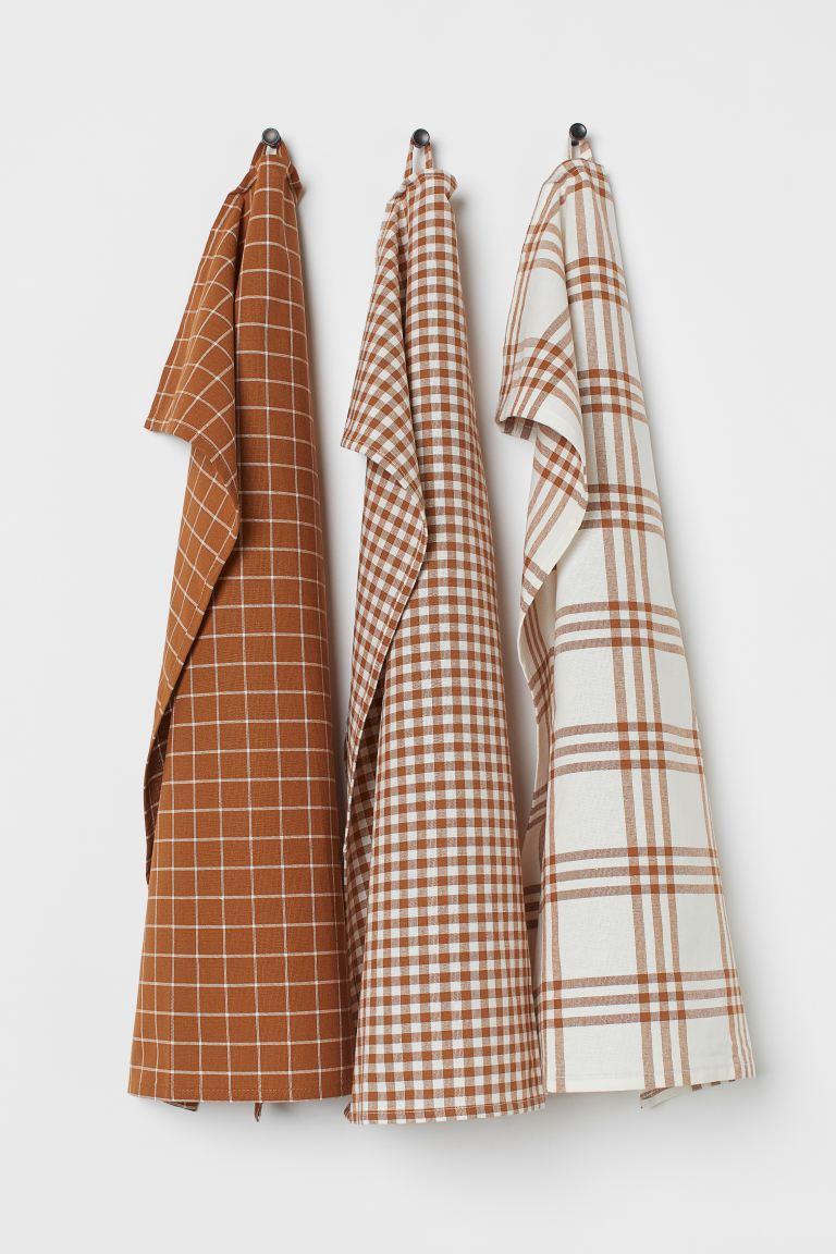 Lot de 3 torchons en coton - Marron/carreaux - Home All | H&M FR