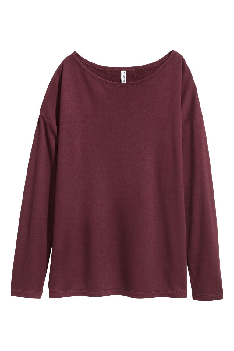 Long-sleeved jersey top - Red - Ladies | H&M GB