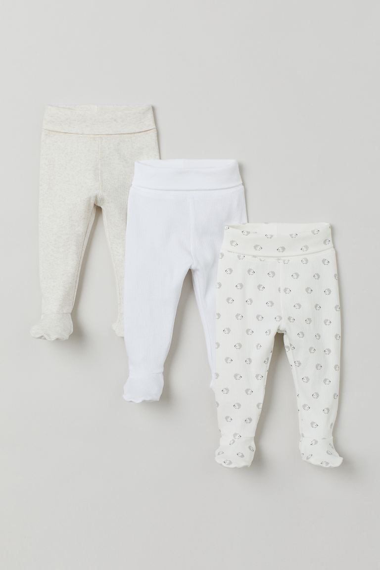 3-pack leggings - White/Hedgehogs - Kids | H&M