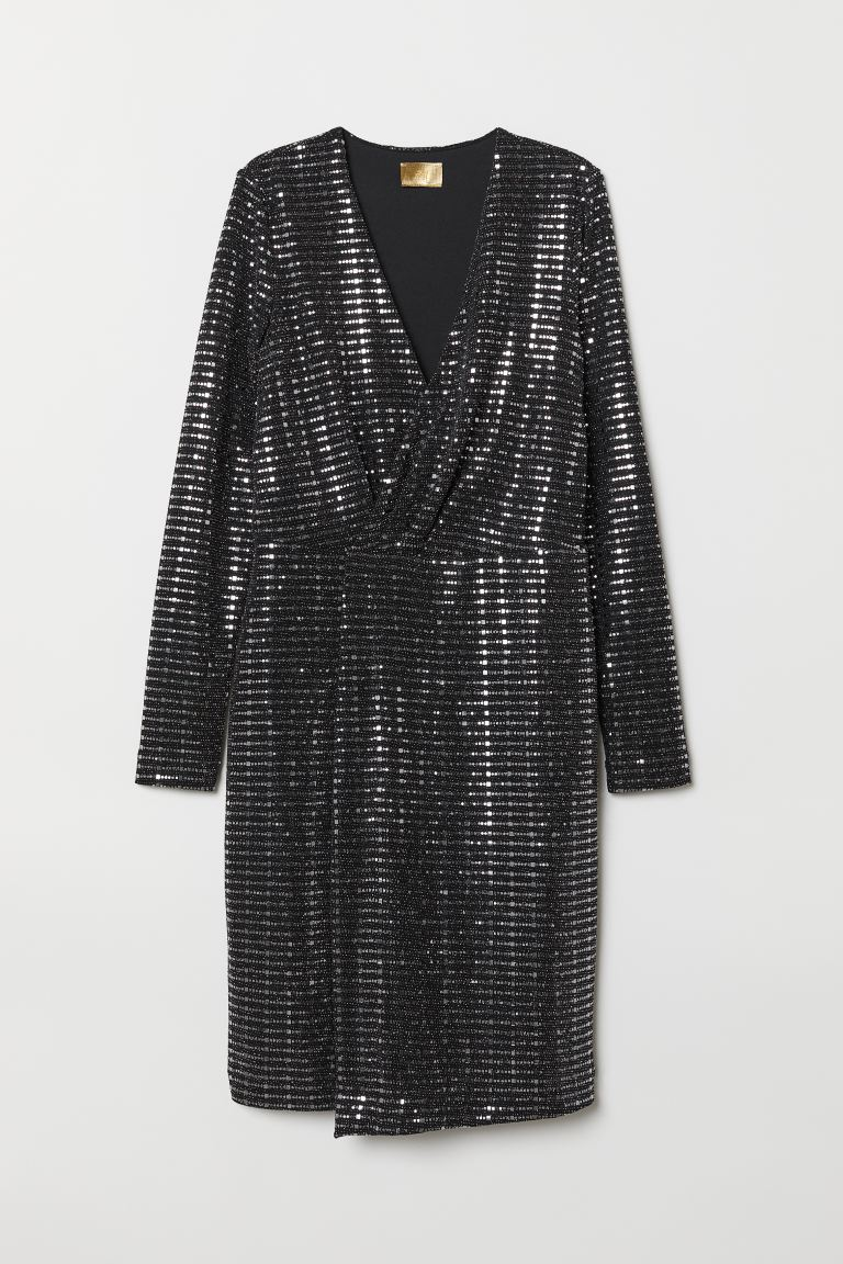 Sequined Dress - Black/silver-colored - Ladies | H&M US