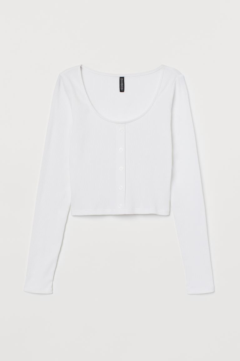 Cropped jersey top - White - Ladies | H&M