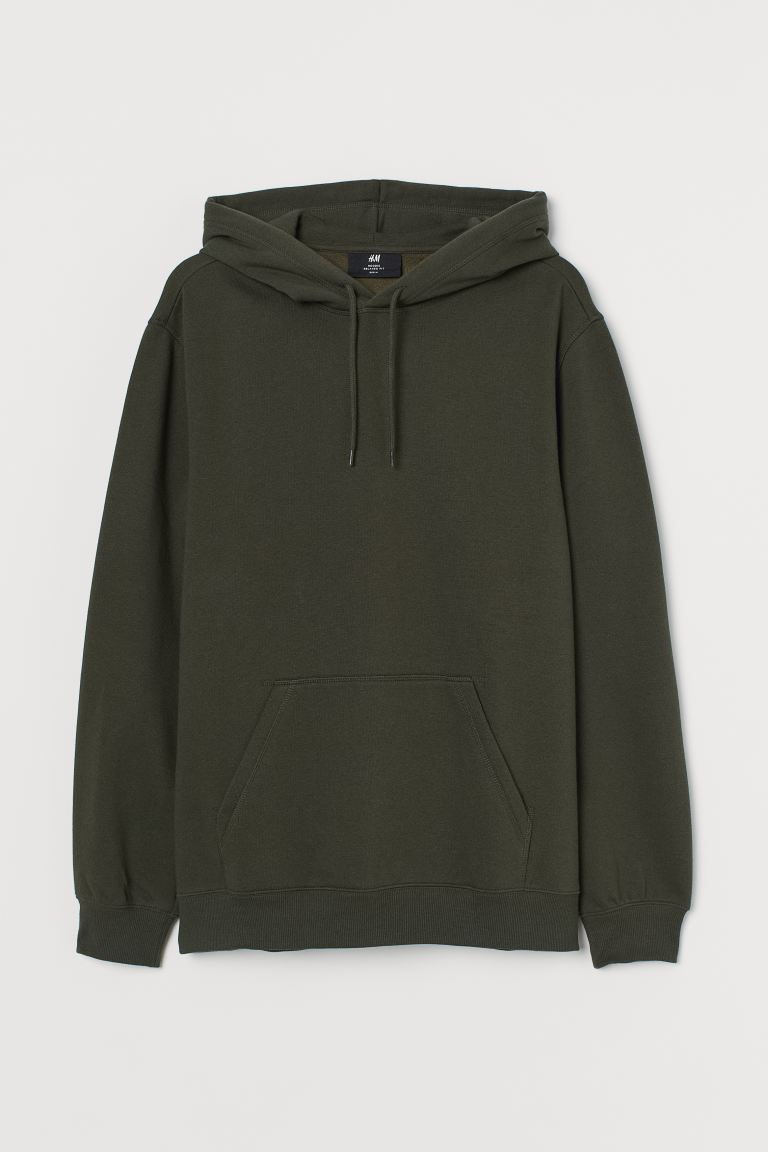 Relaxed Fit Hoodie - Dark khaki green - Men | H&M
