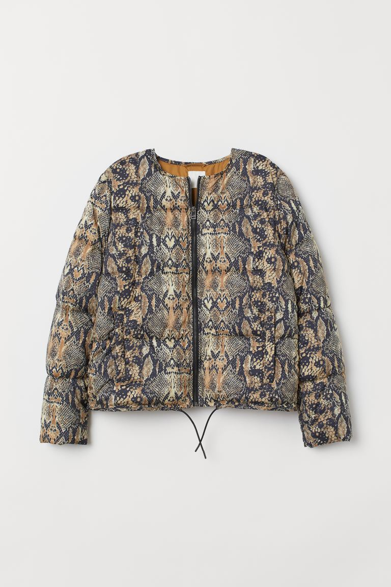 Padded jacket - Beige/Snakeskin-patterned - Ladies | H&M GB