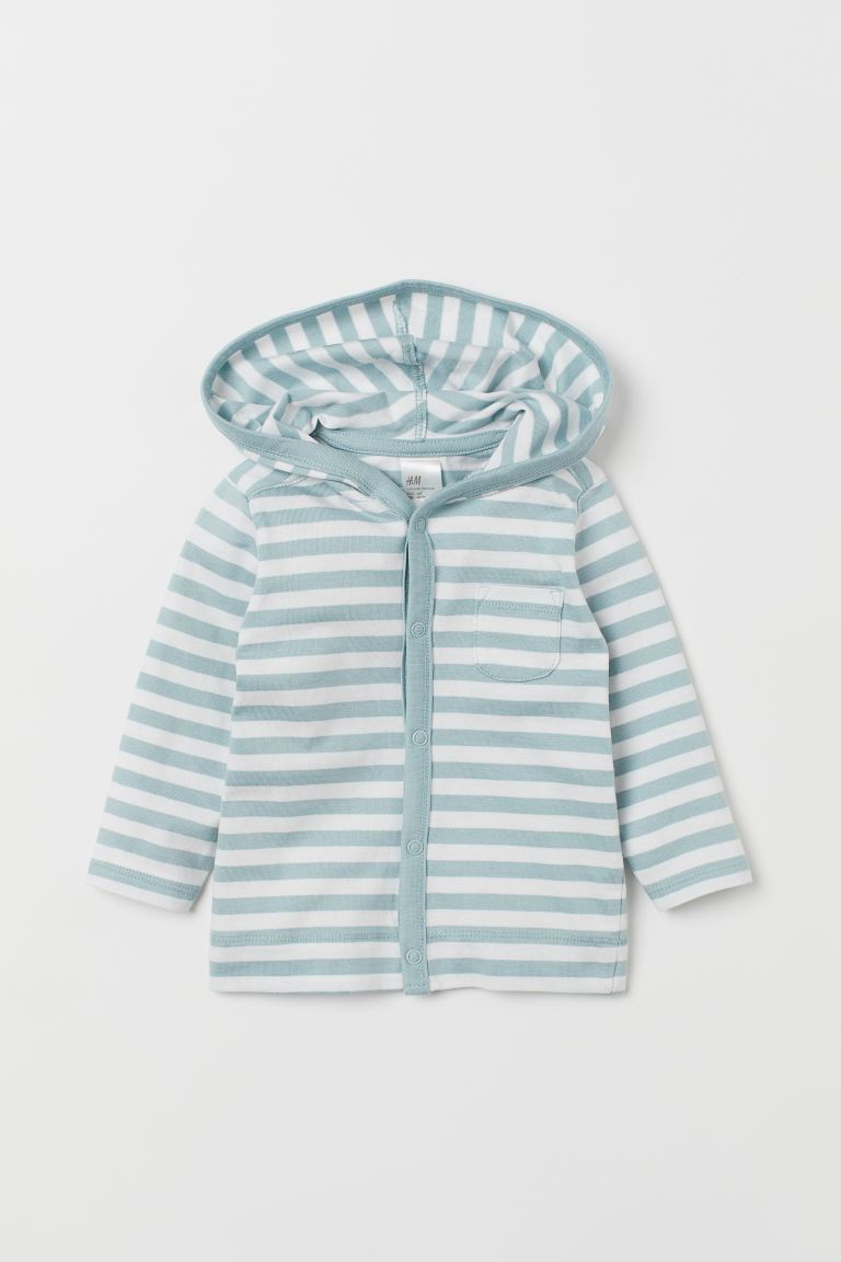Jersey hooded cardigan - Mint green/Striped - Kids | H&M