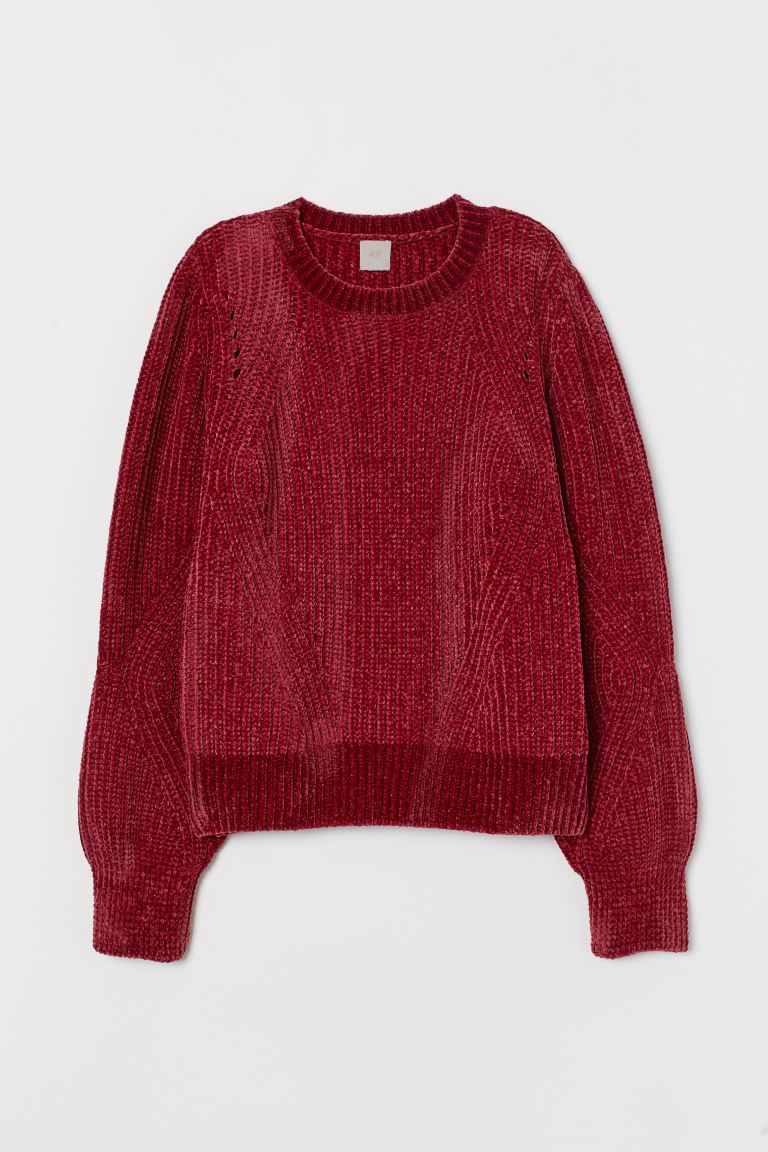 Chenille Sweater - Dark red - Ladies | H&M US