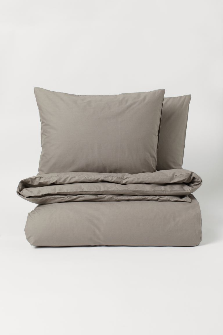 Cotton duvet cover set - Greige - Home All | H&M GB