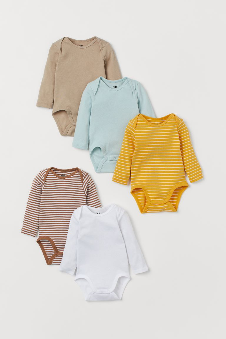 5-pack long-sleeved bodysuits - Yellow/Striped - Kids | H&M GB