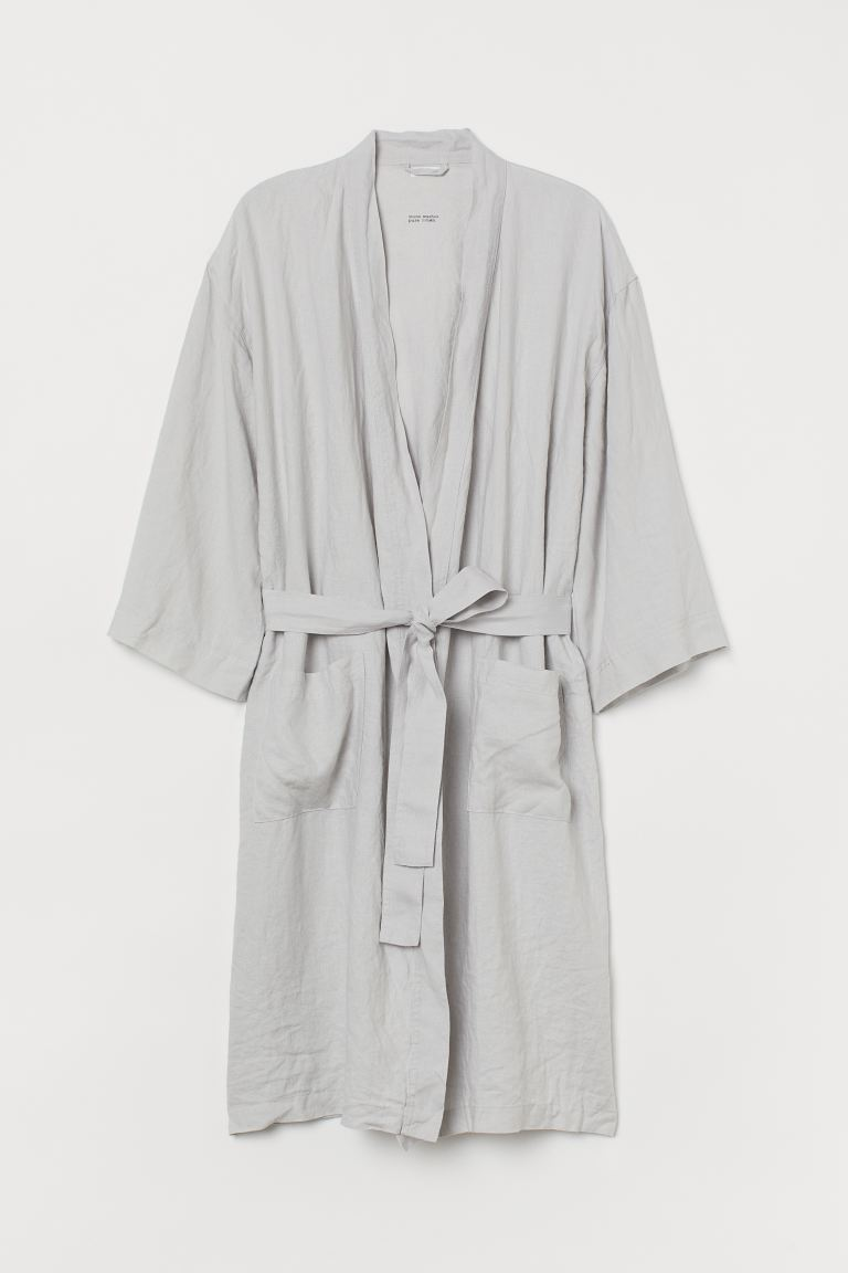 Washed Linen Bathrobe - Light gray - Home All | H&M US