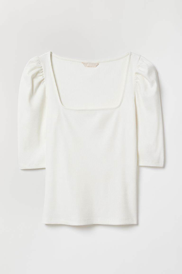 Ribbed jersey top - White - Ladies | H&M IE