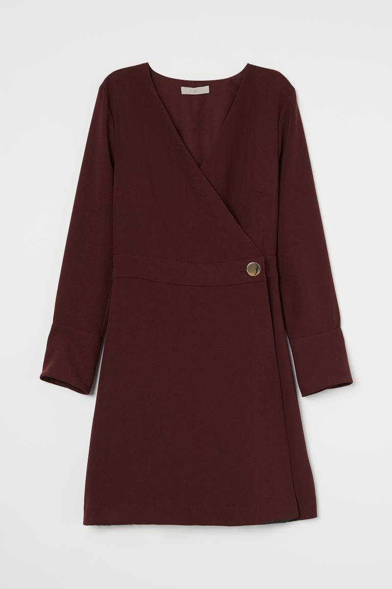 Wrap Dress - Burgundy - Ladies | H&M US