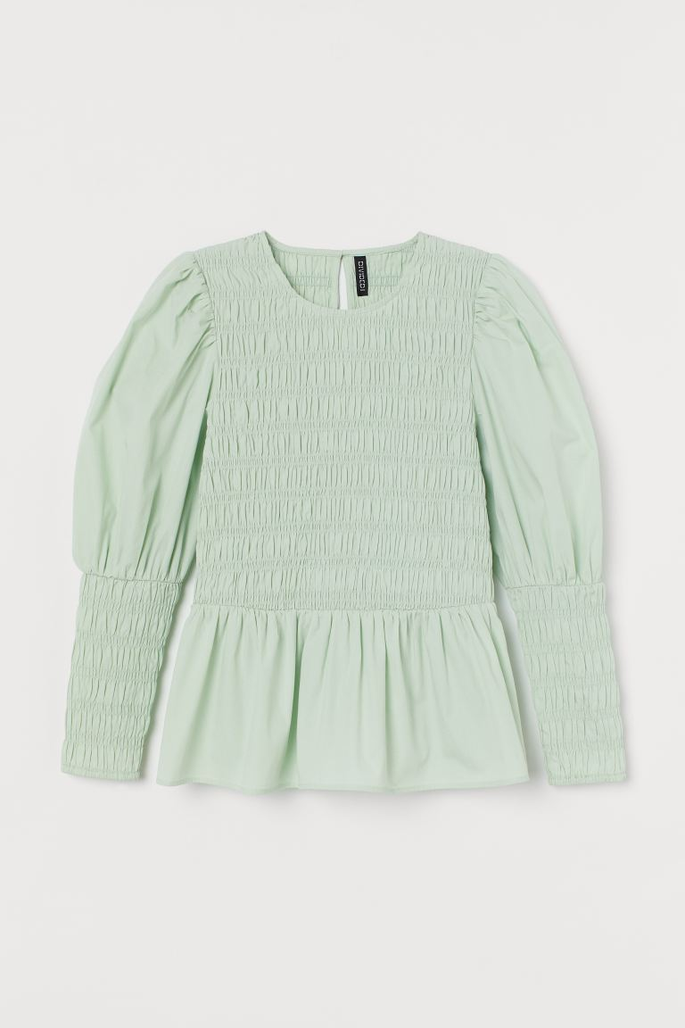Cotton poplin blouse - Mint green - Ladies | H&M GB