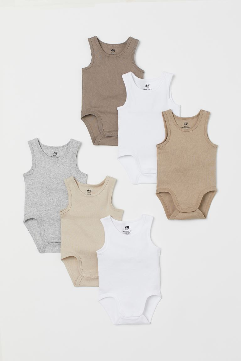 6-pack Sleeveless Bodysuits - Beige/white/gray melange - Kids | H&M US