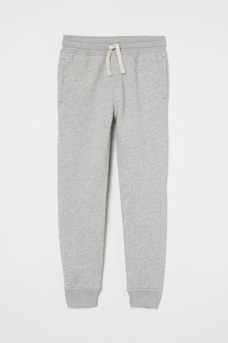 Brushed-inside joggers - Light grey marl - Kids | H&M GB