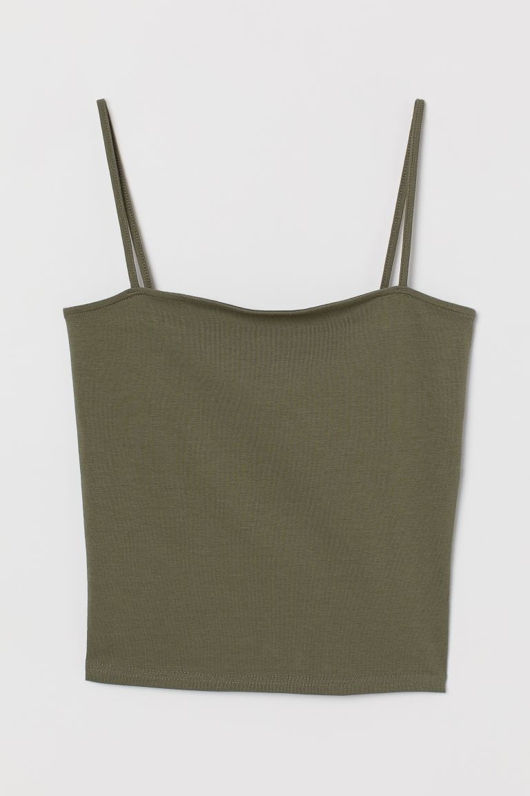 Cropped jersey strappy top - Khaki green - Ladies | H&M
