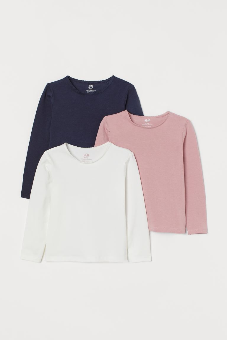 3-pack long-sleeved tops - Light pink/White/Navy blue - Kids | H&M GB