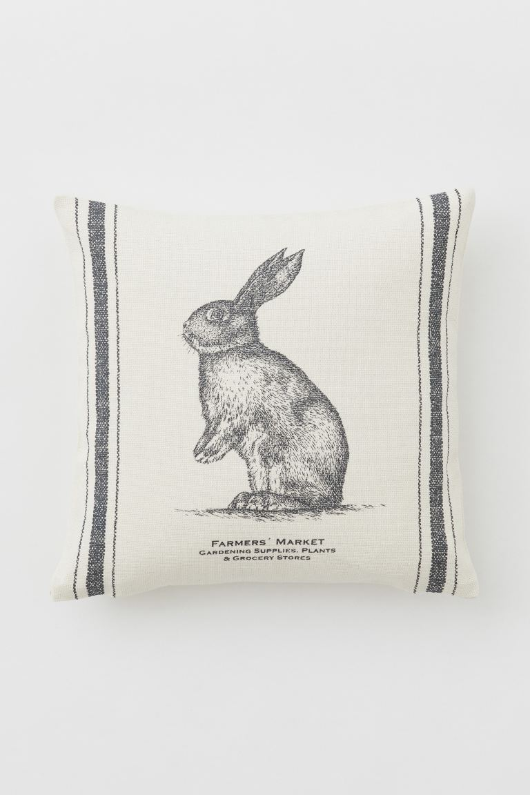 Printed cushion cover - Light beige/Rabbit - Home All | H&M IE
