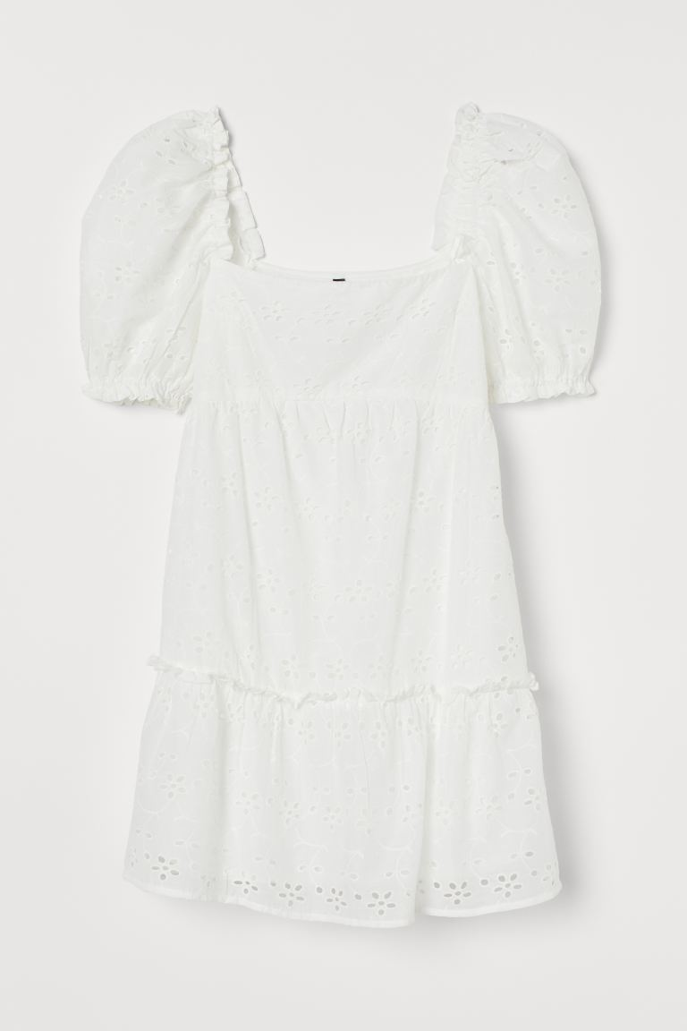 Jurk met broderie anglaise - Wit - DAMES | H&M BE