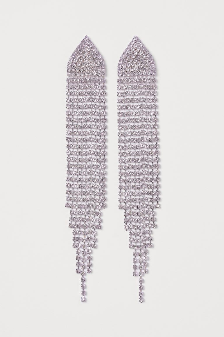 Long Rhinestone Earrings - Light purple - Ladies | H&M CA