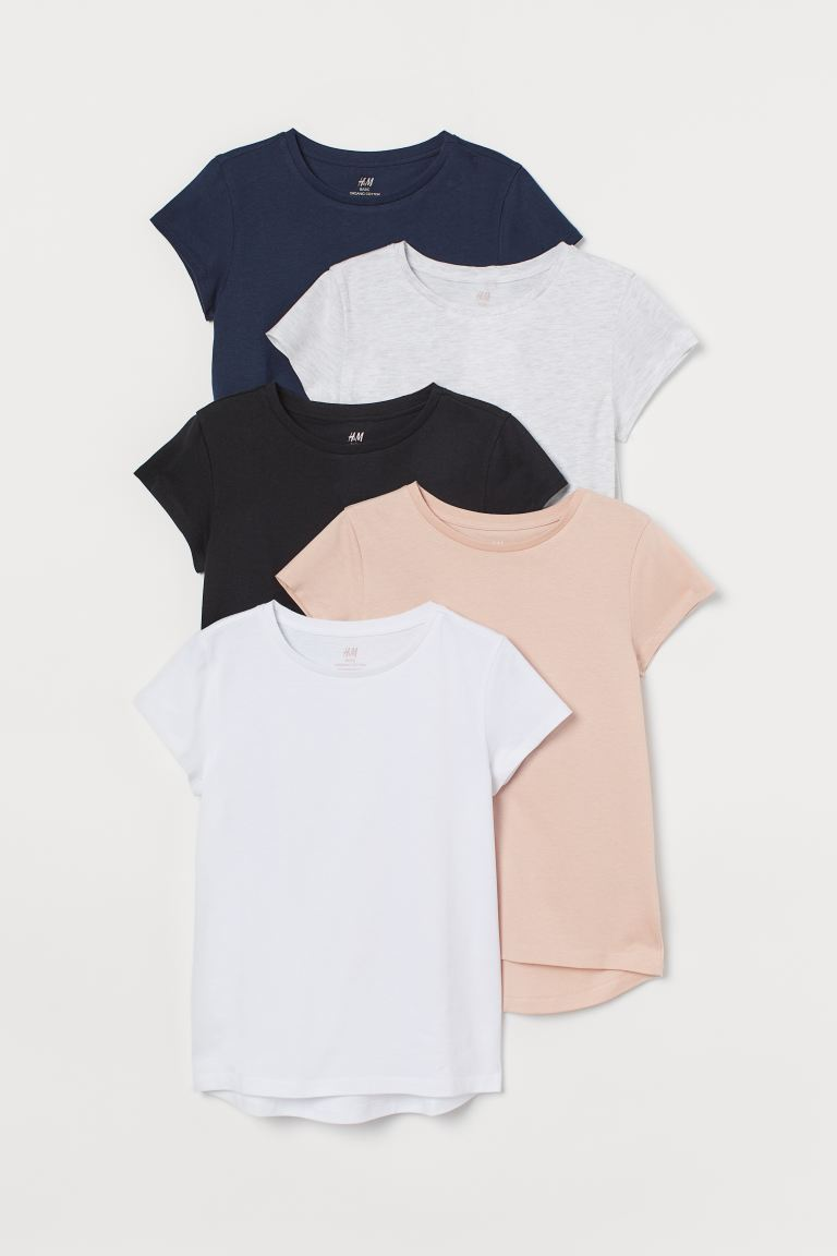 5-pack Cotton T-shirts - White/navy blue - Kids | H&M US