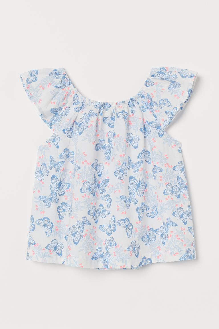 Patterned Cotton Blouse - White/butterflies - Kids | H&M US