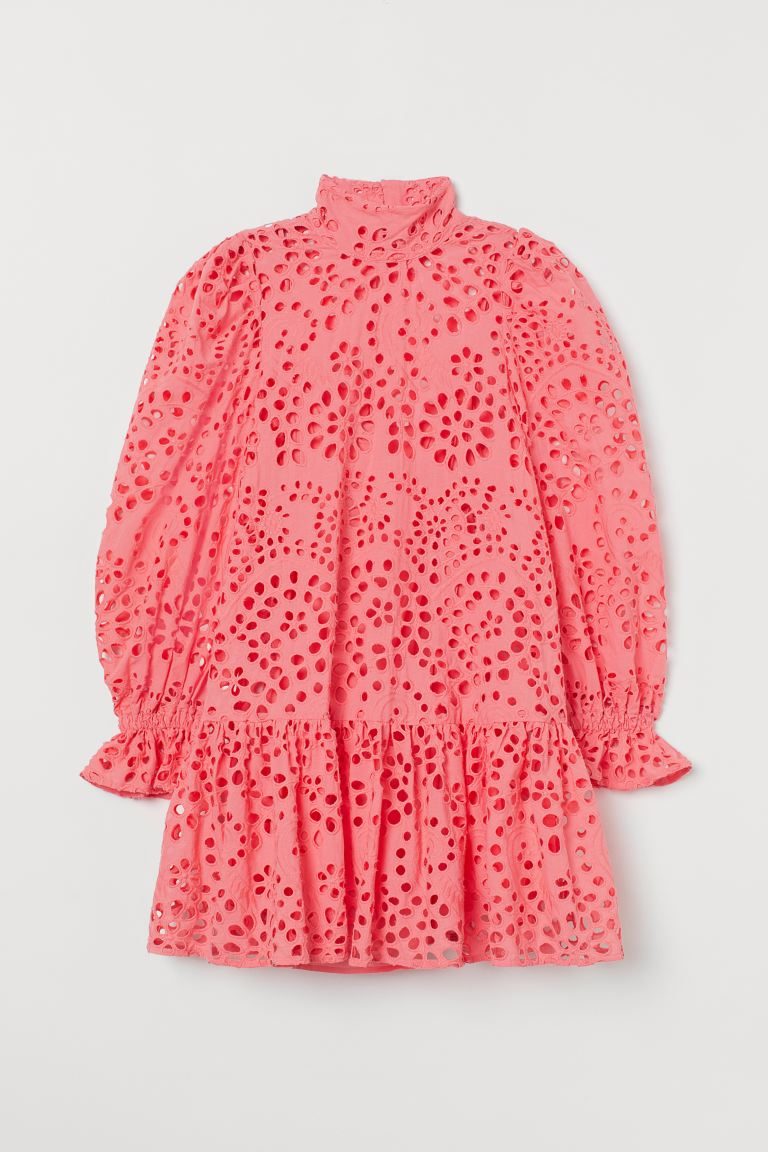 Broderie anglaise dress - Coral pink - Ladies | H&M GB