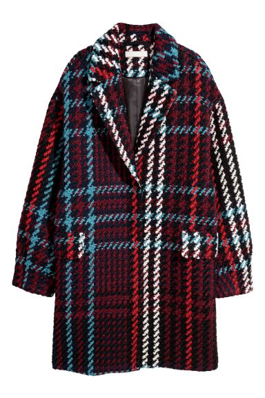 Jacquard-weave coat - Red/Checked - Ladies | H&M GB