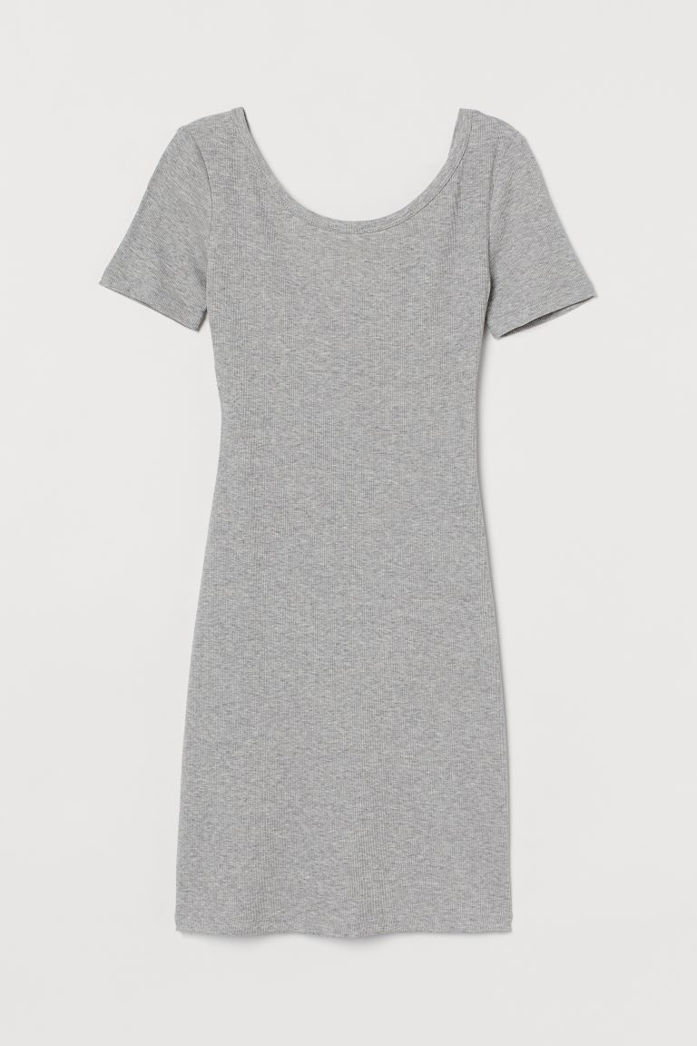 Ribbed bodycon dress - Light grey marl - Ladies | H&M
