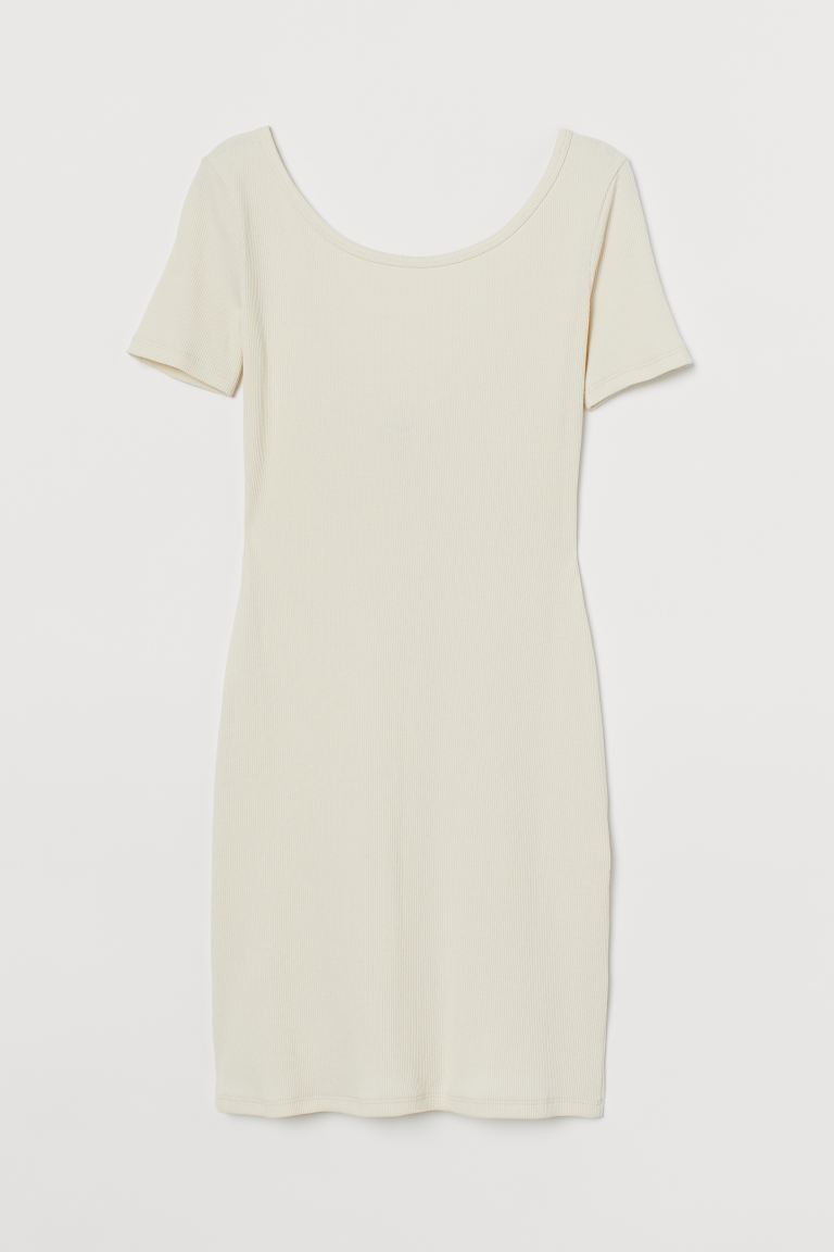 Ribbed bodycon dress - Cream - Ladies | H&M