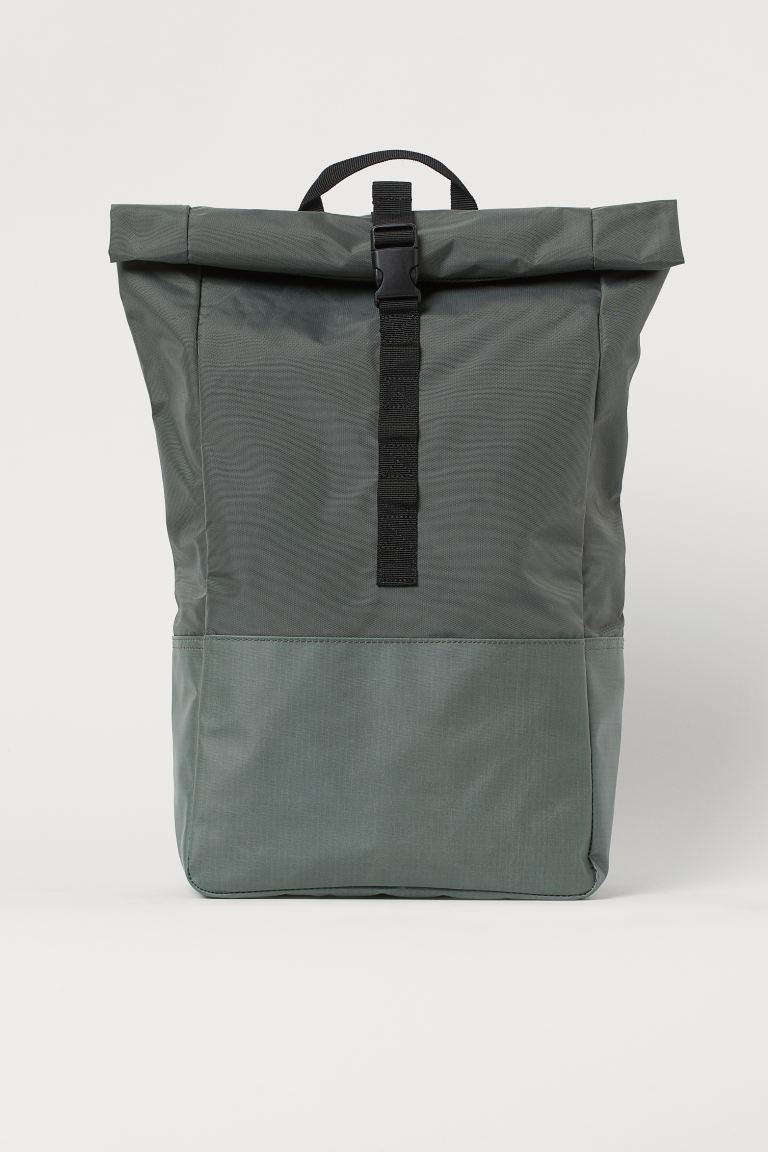 Roll-top backpack - Grey-green - Ladies | H&M GB