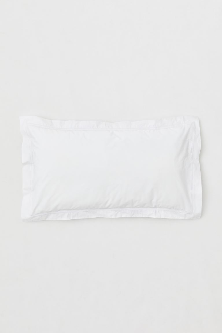 Cotton percale pillowcase - White/Light pink - Home All | H&M GB