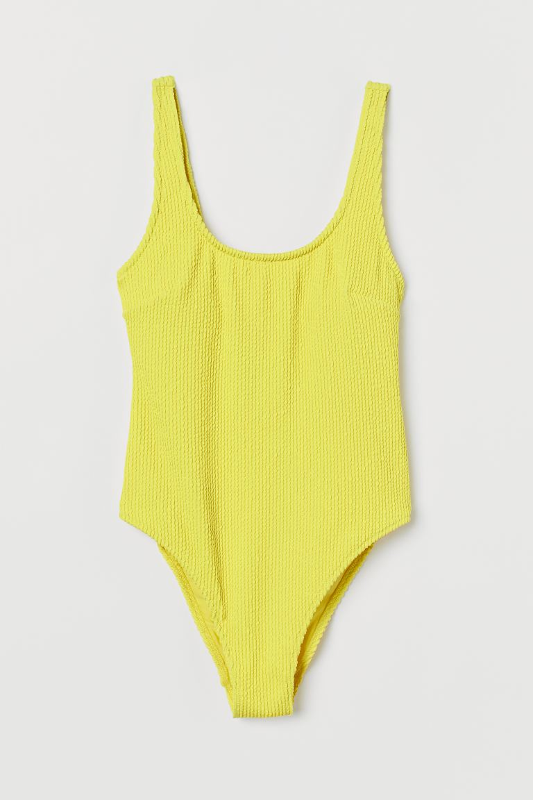 High Leg Swimsuit - Neon yellow - Ladies | H&M US