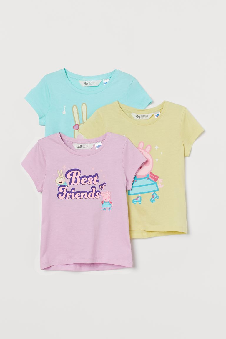 Top in jersey con stampa, 3 pz - Viola chiaro/Peppa Pig - BAMBINO | H&M IT